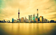 The Pearl of the Orient (Lengs83) Tags: china city light sky water yellow modern clouds river hope gold golden cityscape shanghai horizon