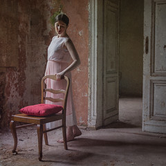 Game of Thrones. (Tomasz Aulich) Tags: door travel pink light portrait woman colour building history abandoned girl beauty face architecture hair chair nikon rust hand dress decay poland oldschool manor mode blackhair photosession pinkdress photomodel redcolour
