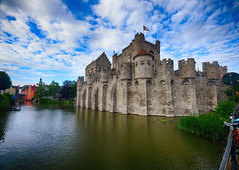 Gravensteen in Ghent, Belgium (` Toshio ') Tags: castle clouds europe european belgium medieval moat ghent europeanunion gravensteen toshio xe2 gentsefesteen fujixe2