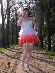 Innocent girl (Paula Satijn) Tags: road trees red white hot sexy stockings girl smile sunshine fun outside dress legs girly feminine joy skirt tgirl heels gown miniskirt gurl stockingtops