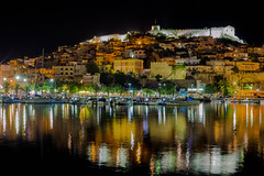 Kavala Old Town at night (RCARCARCA) Tags: castle water reflections canon 2470l oldcity blue masts walls yachts port kavala greece sky night 5diii 2016 macedoniagreece macedonian makedonia timeless