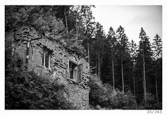 hounted forest house (Alja Ani Tuna) Tags: wood blackandwhite bw white house black brick abandoned window nature pine forest blackwhite scary day year naturallight slovenia shutters 365 nikkor f18 35 woodhouse dailyphoto spruces d800 brickhouse monocrome 85mmf18 hounted project365 onceaday 35365 nikkor85mm photo365 onephotoaday nikond800 hountedhous