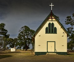 Knowsley VIC (phunnyfotos) Tags: phunnyfotos australia victoria vic knowsley church catholic romancatholic catholicchurch cross facade front architecture building gable weatherboard toilet mens dunny nikon d750 nikond750 rural countrytown arch arches