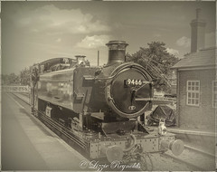 Day 196, 2016, a photo a day. (lizzieisdizzy) Tags: outside outdoors blackandwhite steam train platfom station railtrack bumpers engine chimney smoke driver cab window door footplate clouds 9946 mnr funnel wheels oillamps stoker