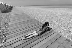 Cathel. (Nicolas Fourny photographie) Tags: blackandwhite nb 1022 wideangle grandangle perspective beautifullegs beach cayeuxsurmer baiedesomme france canon 600d model outdoor cute gorgeous sexy longhair beautifulgirl beautifulwoman sensual sensuality sensuelle