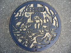 Hongu Wakayama, manhole cover  (MRSY) Tags: hongu wakayama japan manhole child hotspring bird flower lily