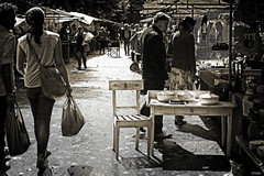 Antiques market (eleni m) Tags: antiquesmarket antiekmarkt dedreef haarlem thenetherlands filmnoir people stands backlight tegenlicht mensen trees bomen chairs stoelen sidetable bowls schalen shadows schaduwen outdoor bags tassen men women