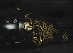 The GTR (charlie rocket photography) Tags: car tuning mediumformat lights shadows contrast dark commercial pro phaseone mamiya 65mm garage gold matte black gtr racing