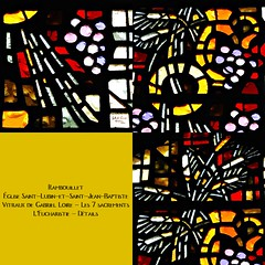 10 -  Rambouillet, glise Saint-Lubin-et-Saint-Jean-Baptiste, Vitraux de Gabriel Loire - Les 7 sacrements - L'Eucharistie - Dtails (melina1965) Tags: aot august 2016 ledefrance yvelines nikon d80 mosaque mosaques mosaic mosaics collages collage macro macros vitrail vitraux stainedglasswindow stainedglasswindows glise glises church churches rambouillet