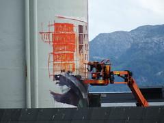 Nuart Festival 2016, Stavanger (DJLeekee) Tags: norway stavanger streetart art festival nuart graffiti fintan mcgee hyuro docks fisherman cloak cloth boosom bosom bossom naked wall henrik uldalen magee spy