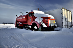 Old firetruck in the snow (m.martinsson87) Tags: truck firetruck winter sweden cold hdr contrast blue red ice clouds cloudy sky art white light landscape old abandoned container