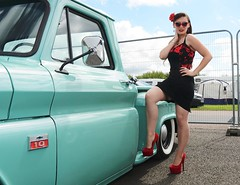 Holly_7255 (Fast an' Bulbous) Tags: classic american car vehicle automobile hotrod sexy girl woman chick babe rockabilly vintage santa pod dragstalgia nikon d7100 gimp high heels long legs hair stockings stilettos people model pinup outdoor
