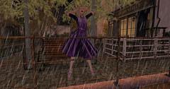 Someone left the cake out in the rain (Teddi Beres) Tags: second life sl macarthur park ghee argrace purple dress blonde hair style clothes fashion rain raindrops scream storm