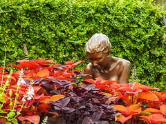 The Gardener (Gabriel FW Koch (fb.me/FWKochPhotography on FB)) Tags: woman sculpture p900 weeding flowers outdoor outside bronze gardener plants statue trees nikon shrubs hedges garden