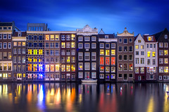 Amsterdam nights are awesome! (Label 89) Tags: amsterdam holland netherlands nederland night lights windows rooms landscape reflection reflections reflectie canals grachten canal central station damrak