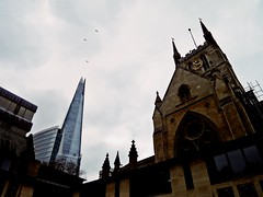 the Shard (Carlo Mirante) Tags: old uk bridge england sky cloud reflection london primavera church skyline modern canon project mirror fly p