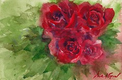 La Vie en Rose (MFG512) Tags: life flowers red roses flower color colour green art leave nature floral leaves rose watercolor painting leaf petals still flora paint artist petal watercolour splatter impressionist realism