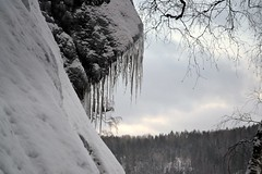 Icicles on the southern precipice of Romvuori above Lake Pitkjrvi (Espoo, 20120114) (RainoL) Tags: winter lake snow ice espoo finland geotagged january u icicle fin precipice 2012 uusimaa nyland esbo pitkjrvi 201201 20120114 lakesofnuuksio romvuori geo:lat=6029738300 geo:lon=2454184800