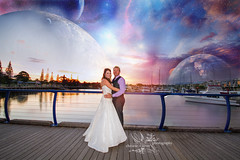 Sooo.. i was mucking around (goodgirlbetty) Tags: wedding sunset photoshop canon groom bride alien sigma manipulation planets 1020mm overlays