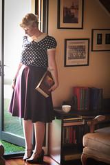 Book Style (lianasmooz) Tags: nerd reading tea harrypotter books polkadots perth blonde pixiecut modcloth modclothshoes pixiecrop findingfemme lianaskewes