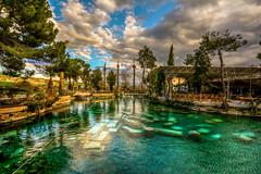 Pamukkale Ancient Termal Pool (Nejdet Duzen) Tags: trip travel reflection pool turkey spring trkiye historical pamukkale denizli hierapolis yansma havuz turkei termal seyahat tarihi