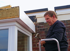 The Builder (Reinardina) Tags: roof england man male home candid southampton trade atwork builder clearsky tradesman contractors buildingwork singlefigure
