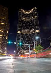 Calgary at night (V.Duplain) Tags: street city light red urban canada building calgary cars car architecture night lights downtown cityscape alberta lighttrail