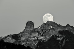 Moon-rise in the Mountains (Scosanf) Tags: sky blackandwhite bw moon mountains nature monochrome rock canon landscape eos lowlight colorado outdoor naturallight 6d coloradotrails