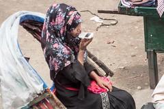 H504_3497 (bandashing) Tags: rickshaw girl passengers ride floral headscarf print mobile phone talk hijab street sylhet manchester england bangladesh bandashing aoa socialdocumentary akhtarowaisahmed