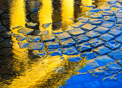 St George's Hall, Liverpool (stephenbryan825) Tags: blue color reflection yellow architecture contrast liverpool buildings puddle graphic details columns vivid abstracts cobbles minimalist stgeorgeshall selects stgeorgesplateux