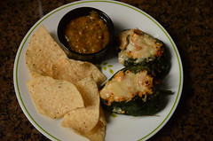 Home grown (mag3737) Tags: homemade homegrown stuffed poblanos peppers salsa chips supper dinner plate meal