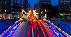 The city of Brussels (Nitin_Paul) Tags: city bridge brussels cars lights cityscape traffic belgium citylife tunnel nitin lightstreaks walkover visitbrussels