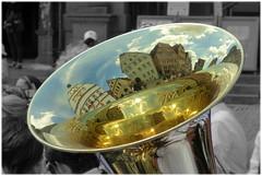 City in brass (Lumitax) Tags: tuba rothenburg spiegelung gebude brassband