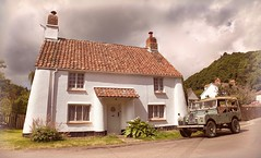'Chocolate Box' Cottage with Classic Landy (Doyleecart Photography) Tags: somerset cottage summer idylic canon5dmkiii doyleecart 4x4xfar 4x4 landrover classic england westcountry 17thcentury