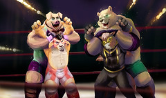 El Luchacabra and Masked Mustang--Tag Team Trouble! (critter superhero) Tags: bear horse sexy pig fight brawl power muscle wrestling domination cartoon goat tights superhero speedo spandex