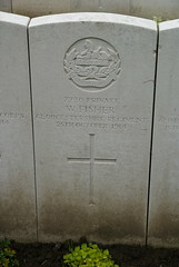 W. Fisher, Gloucestershire Regiment, 1914, War Grave, Poperinghe (PaulHP) Tags: ww1 world war 1 first graves marker grave headstone military cemetery belgium w walter fisher private service number 7730 25th october 1914 gloucestershire regt regiment 1st bn battalion popereinghe old 1915 claines worcs worcestershire cheltenham cwgc