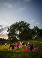 Sunrise Yoga (Notley) Tags: httpwwwnotleyhawkinscom notleyhawkinsphotography notley notleyhawkins 10thavenue yogo sunrise morning benefit charity 2016 july summer people folk excercise workout columbiamissouri missouri bocomo boonecountymissouri park stephenslake stephenspark moon luna lunar crescentmoon