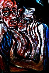"""Painting: """"behind curtains"""" (THE ART OF STEFAN KRIKL) Tags: curtains gaschambers lust nazi separation transport"""