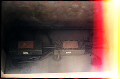 Boxes for the control of neon lights. (FreezerOfPhotons) Tags: olympus35sp konica160pro expiredfilm homec41 unicolorc41