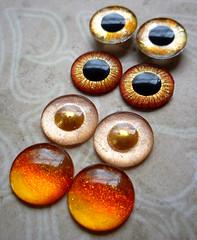 Custom order Soleil: handpainted Blythe eyechips in gold-tones