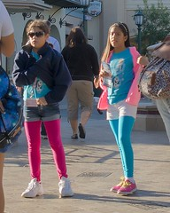 Colorful Leggings (Kevin MG) Tags: usa disney amusementpark blue red girls young youth preteen little cute pretty anaheim californiaadventures dlr california