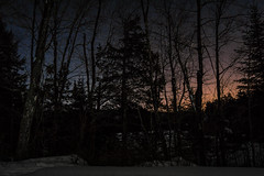 Two Solitudes (thegreatnorth_mtl) Tags: longexposure winter moon snow canada cold ice nature silhouette forest stars frozen quebec space snowshoeing february laurentians afterglow laurentides halfmoon nightexposure wintercamping nikkor1855mm openskies nikond3100 32celcius