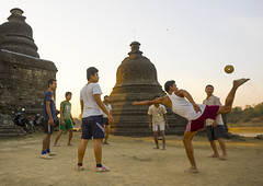 Men Playing Chinlone In Front Of Stupas, Mrauk U, Myanmar (Eric Lafforgue) Tags: color colour building men history archaeology sport horizontal architecture ball religious temple photography pagoda ancient asia southeastasia day play burma stupa buddhist faith religion culture buddhism historic national temples teenager historical myanmar recreation spirituality copyspace southeast fullframe monuments burmese groupofpeople rattan jhana adultsonly rakhine chinlone mrauku arakan stupas traveldestinations colorimage famousplace placeofinterest internationallandmark mrohaung rakhinestate mrauk arakanese colourpicture burma0471 sittwedistrict