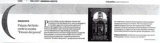 """Palazzo Archinto mette in mostra """"Il tesoro dei poveri"""", estratto dal quotidiano La Repubblica di sabato18 aprile 2015, pagine di Milano, Giorno&Notte"""