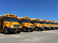 Yellow School Buses And A Bright Blue Sky; Port Washington, New York (hogophotoNY) Tags: school usa ny bus buses yellow port us pattern bluesky schoolbus nystate iphone repeating schoolbuses portwashington portwashingtonnewyork hogo hogophoto iphone6