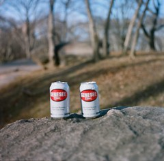 Central Park, New York City (malinda fisher) Tags: park camera new york city 120 film beer drunk golden spring day central ikoflex charles hour medium format ellsworth portra malindafisher