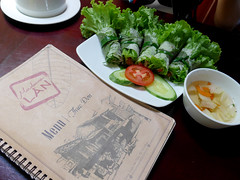 How green was lunch? (Roving I) Tags: tourism restaurants vietnam dining sauces springrolls danang vietnamesecuisine madamelan
