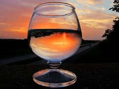 One for the Road (clarkcg photography) Tags: sunset summer orange sun west reflection cup glass inverted northeast liquid flickrfriday
