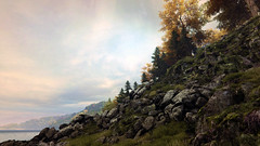 Vanishing of Ethan Carter 07 (hyperlost47) Tags: trees cliff lake fall water leaves rock forest screenshot woods rocks hill ethan gaming carter vanishing pcgaming pcmasterrace