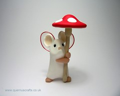 Little Fairy Toadstool Mouse (QuernusCrafts) Tags: cute mouse wings polymerclay fairy toadstool whitemouse quernuscrafts fairymouse
